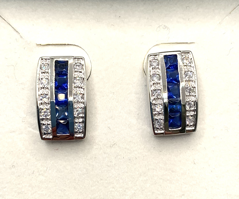 Channel Set Blue Synthetic Birthstone Sterling Silver Earrings