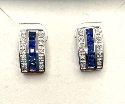 Channel Set Synthetic Blue Birthstone Earrings