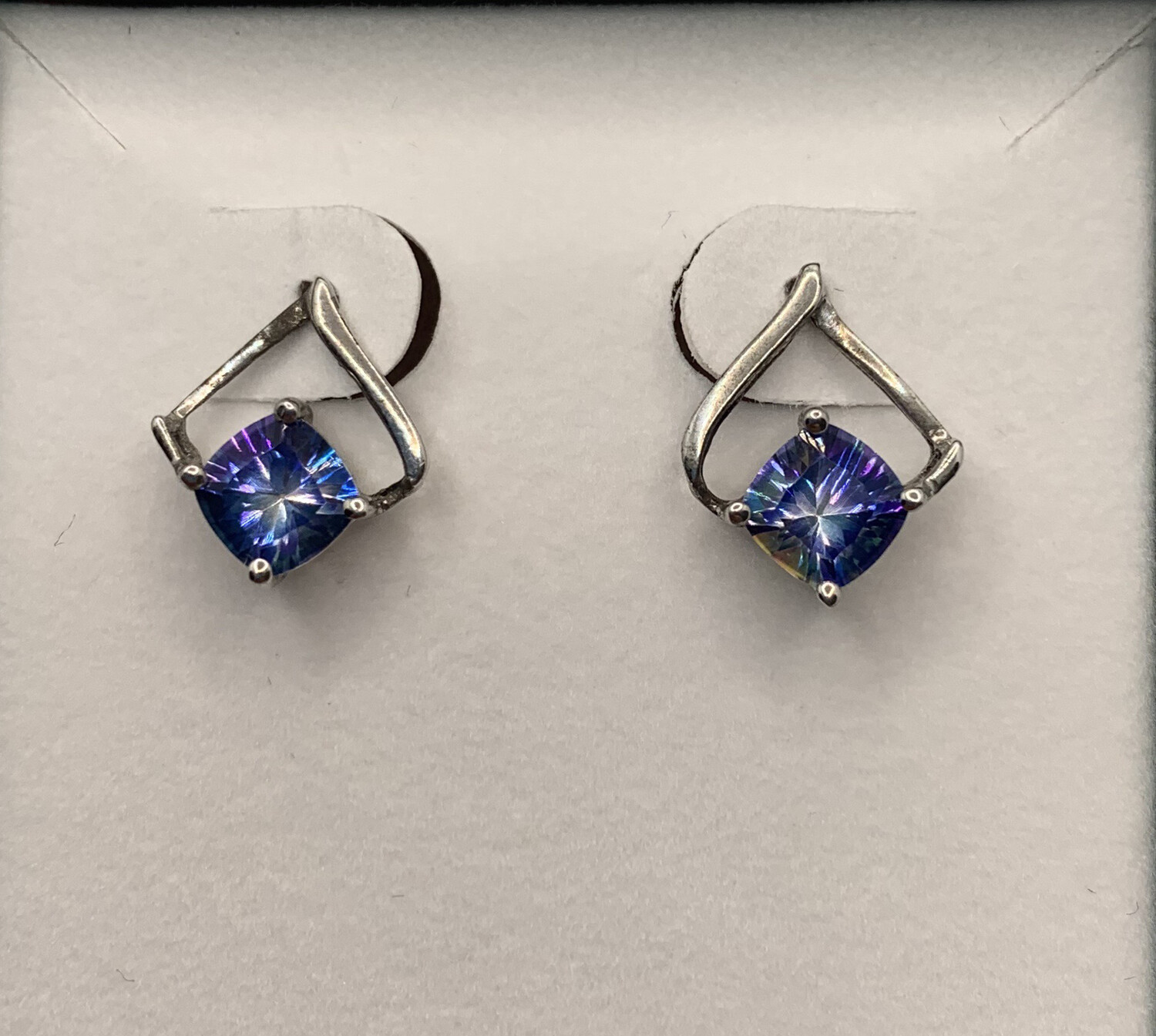 Blue Synthetic Birthstone Silver Earrings