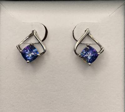 Synthetic Blue Birthstone Silver Earrings