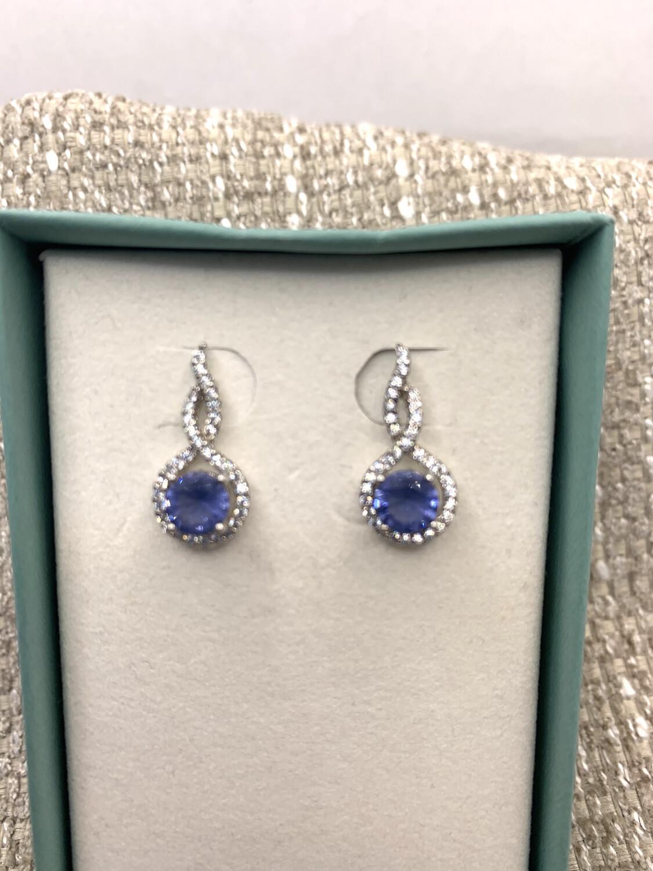 Blue Synthetic Birthstone Drop Earrings