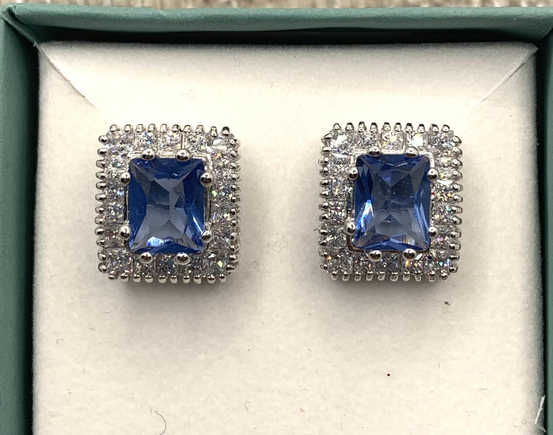 Dazzling Blue Synthetic Birthstone Princess Cut Sterling Silver Earrings