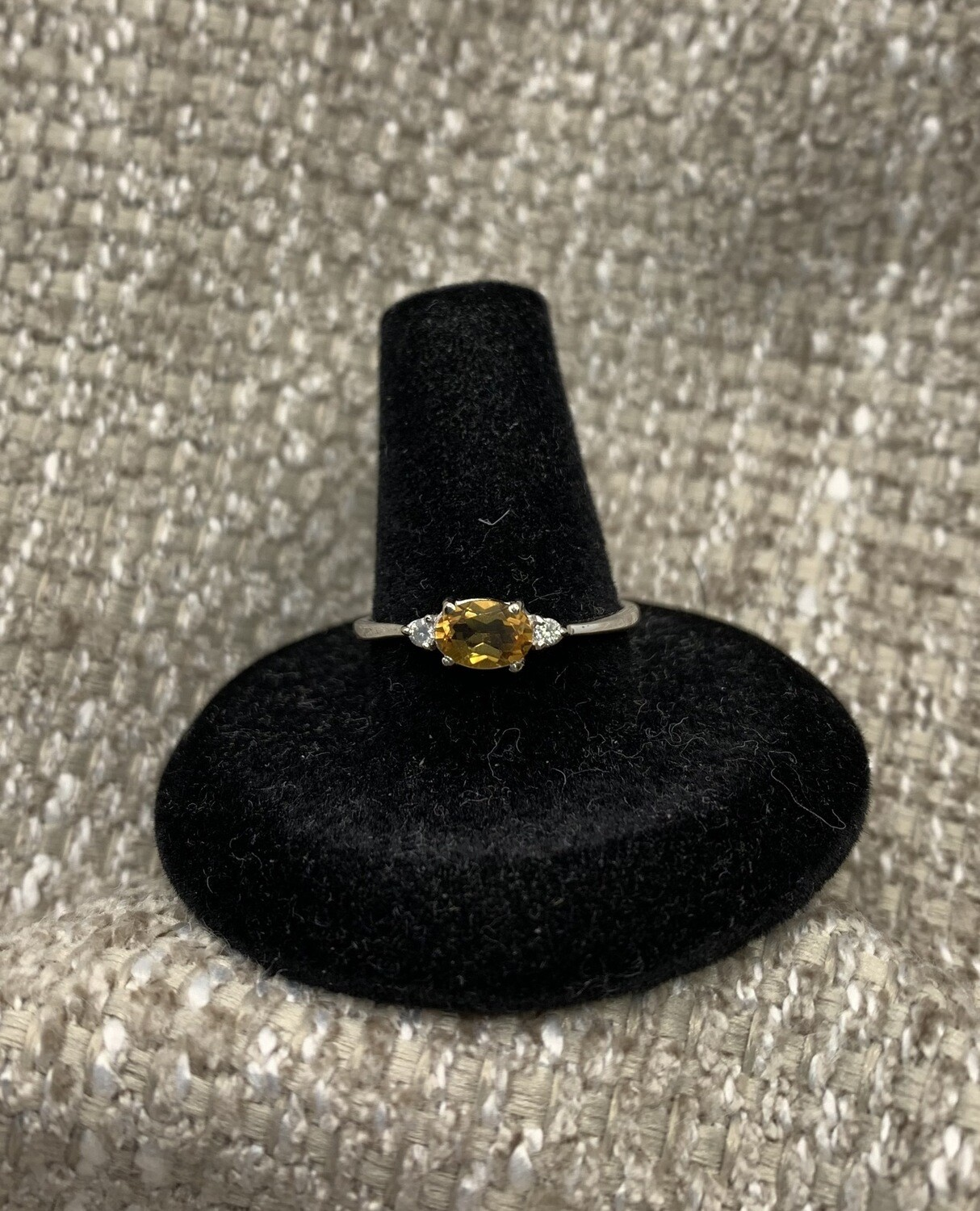 Oval Genuine Citrine With Diamond Accents