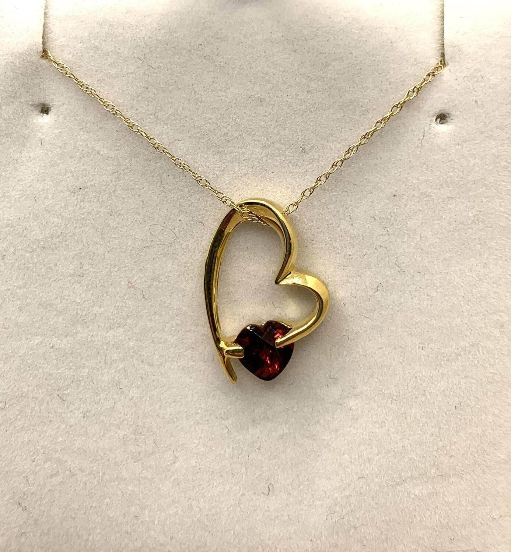 Genuine Garnet Heart Pendant