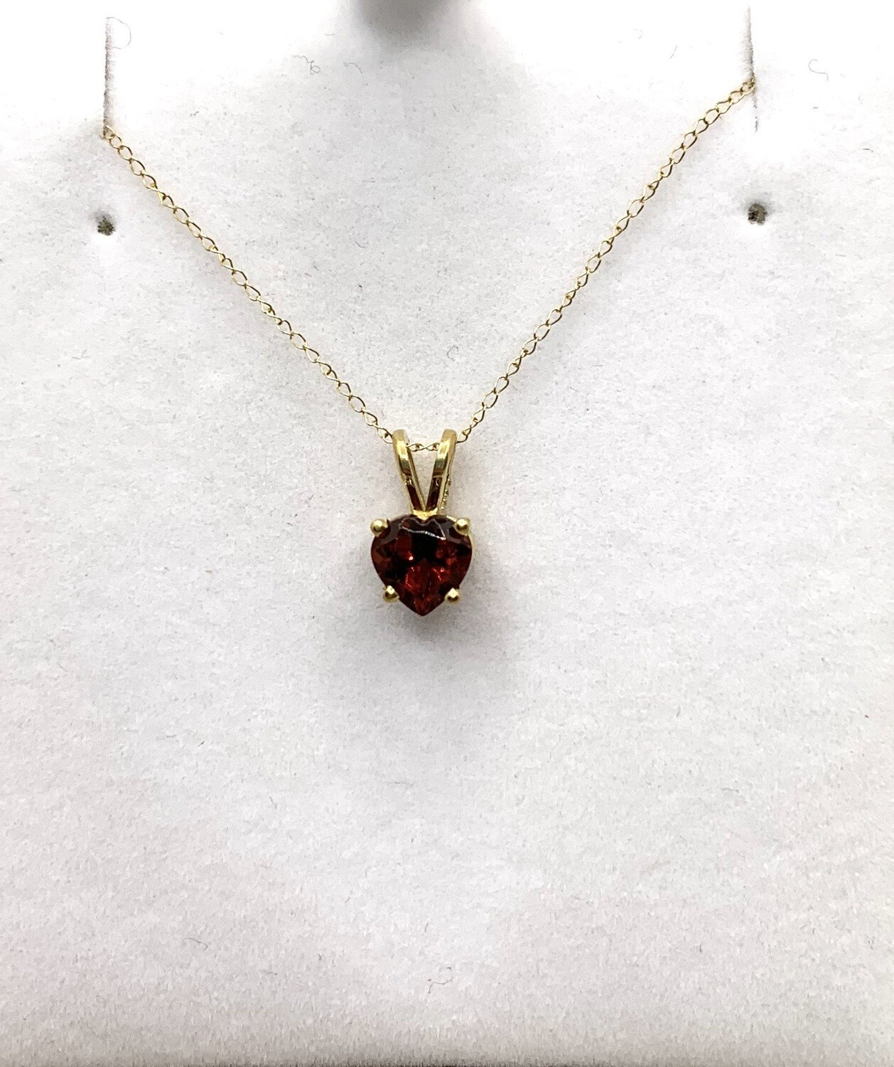 Genuine Garnet Heart Pendant