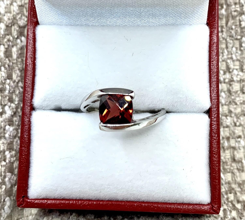 Genuine Garnet 14k White Gold Ring