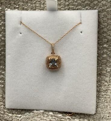 Genuine Aquamarine Pendant With Diamond Halo Rose Gold Setting
