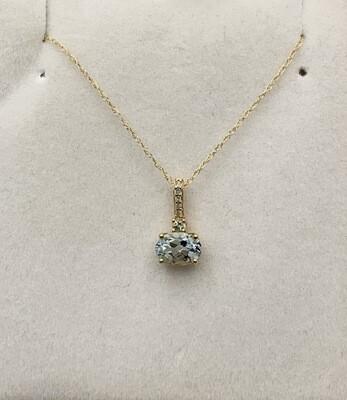 Oval Cut Genuine Aquamarine With Diamond Accents
