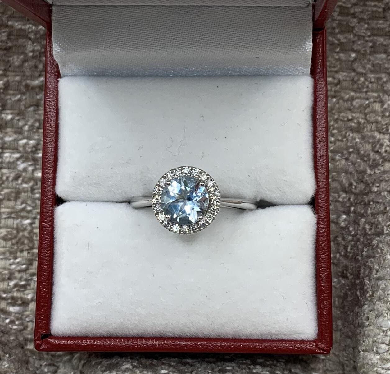 Brilliant Aquamarine With Diamond Halo