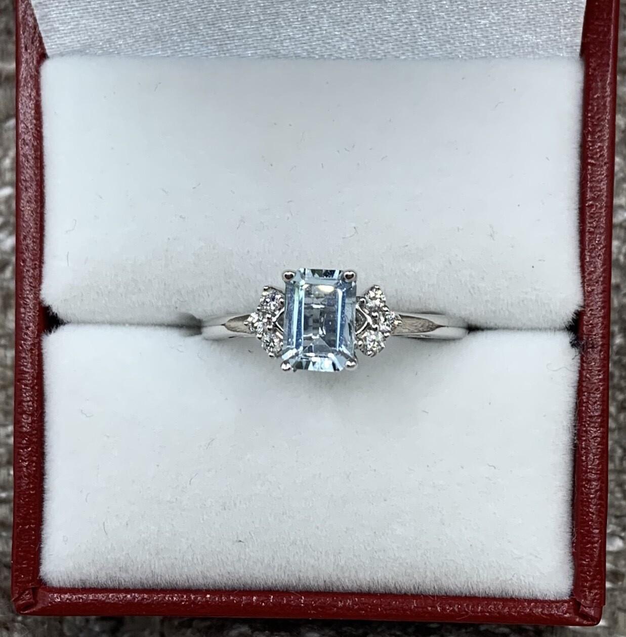 Emerald Cut Aquamarine With Diamond Accents Ring