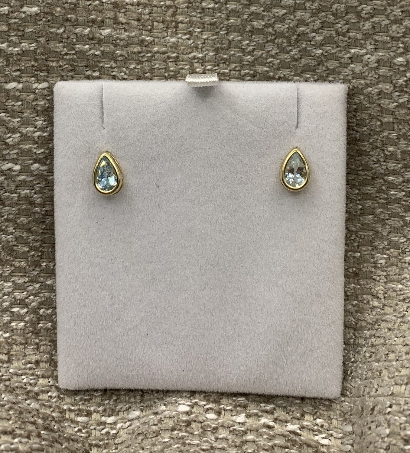 Pear Shaped Genuine Aquamarine Studs