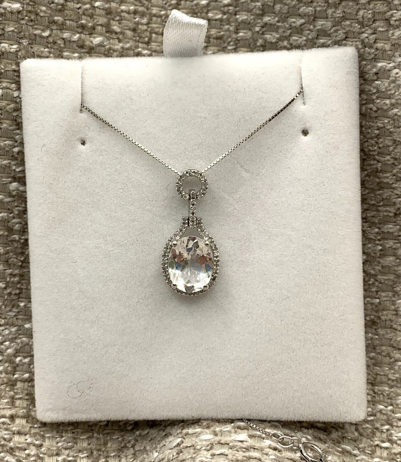 Sparkling Aquamarine With Diamond Halo And Accents Pendant