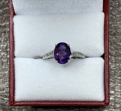 Amethyst With Diamond Accent Band