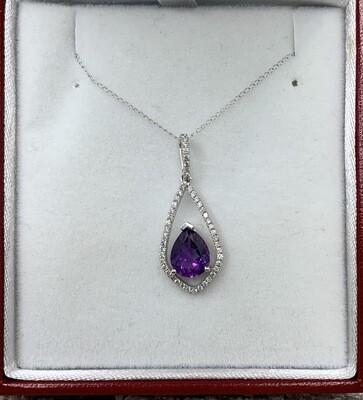 Amethyst Teardrop Large Diamond Halo Pendant