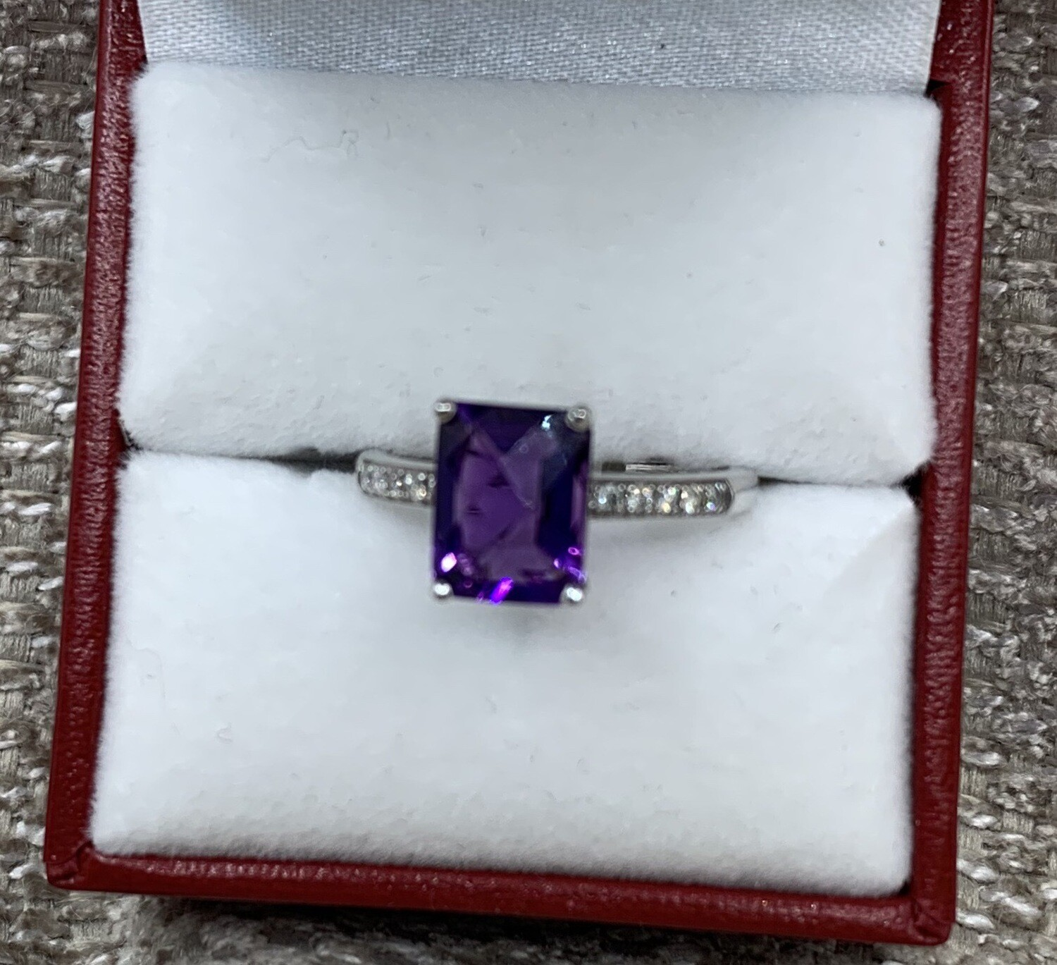 Emerald Cut Genuine Amethyst With Diamond Accent Band set in White Gold