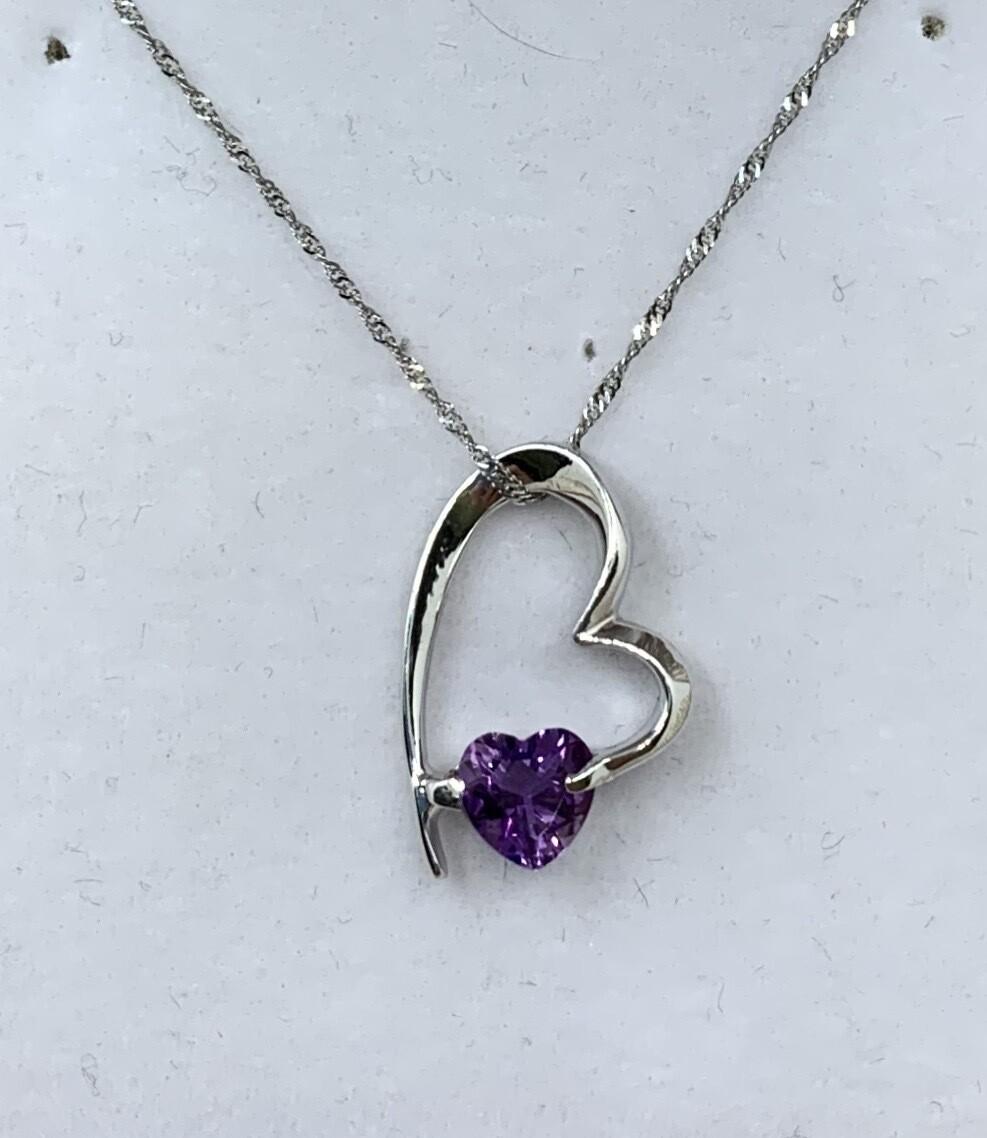 Heart Shaped Amethyst Heart Necklace