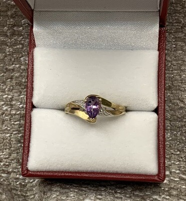 Amethyst With Diamond Accents Ring