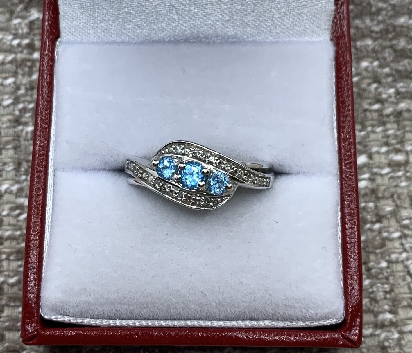 3 Blue Topaz With Diamond Accent Ring