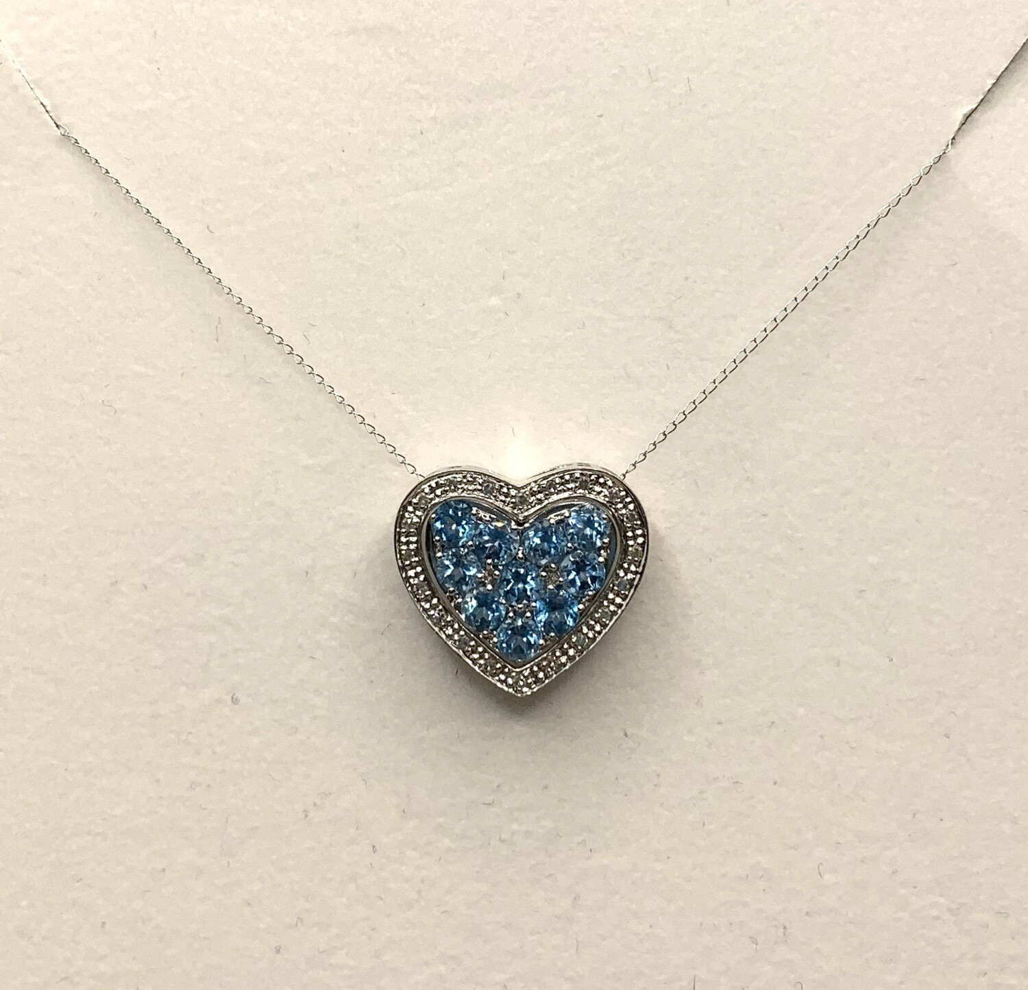 Nested Heart Blue Topaz With Diamonds Pendant