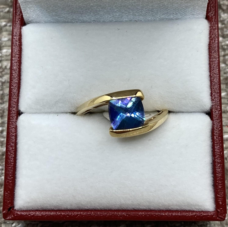 Peacock Blue Topaz Ring