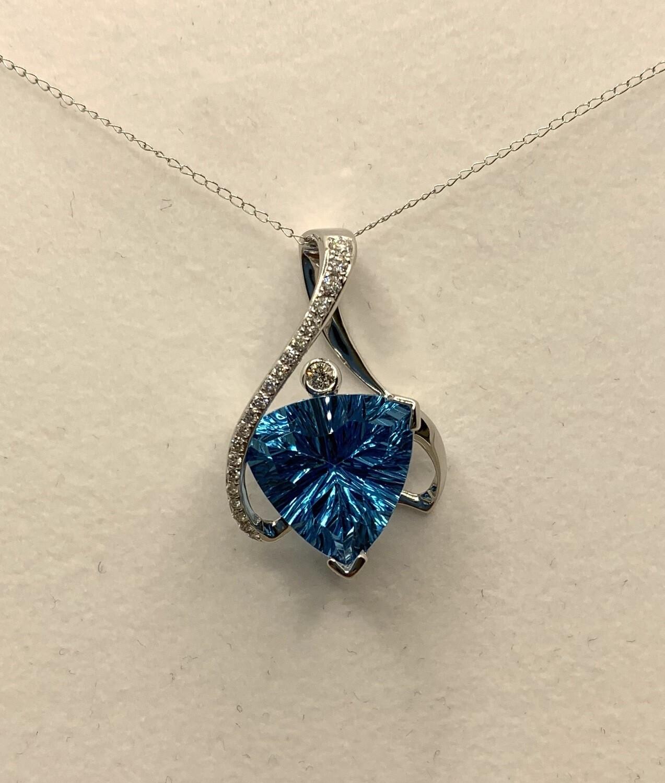 Stunning 8.7ct Blue Topaz With Diamond Accent Pendant