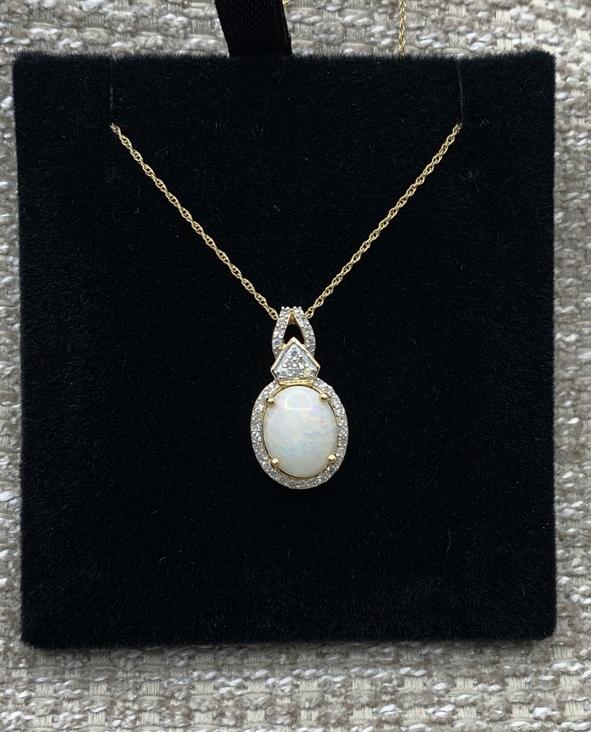 Opal With Diamond Halo And Accents Pendant