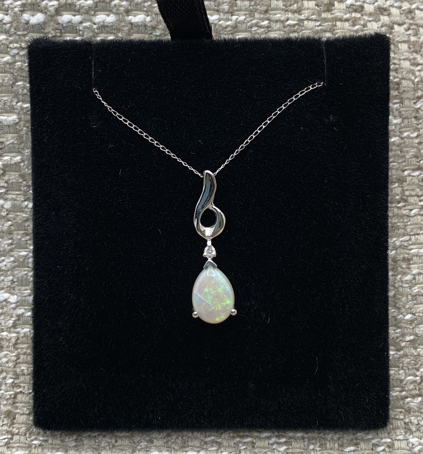 Teardrop Opal With Diamond Accent Necklace