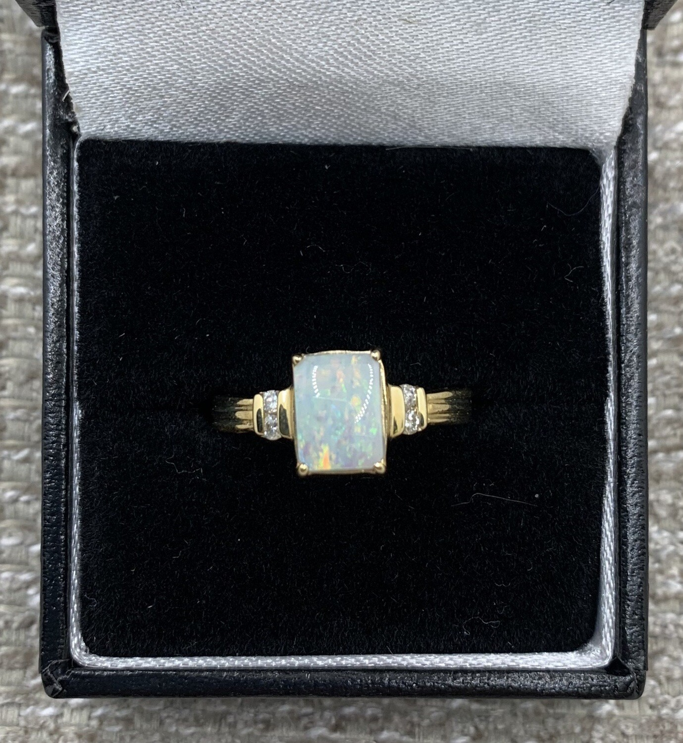 Square Cut Opal With Diamond Accents Ring .8ct