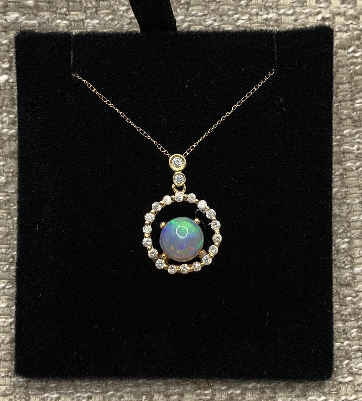 Opal With Diamond Halo Pendant