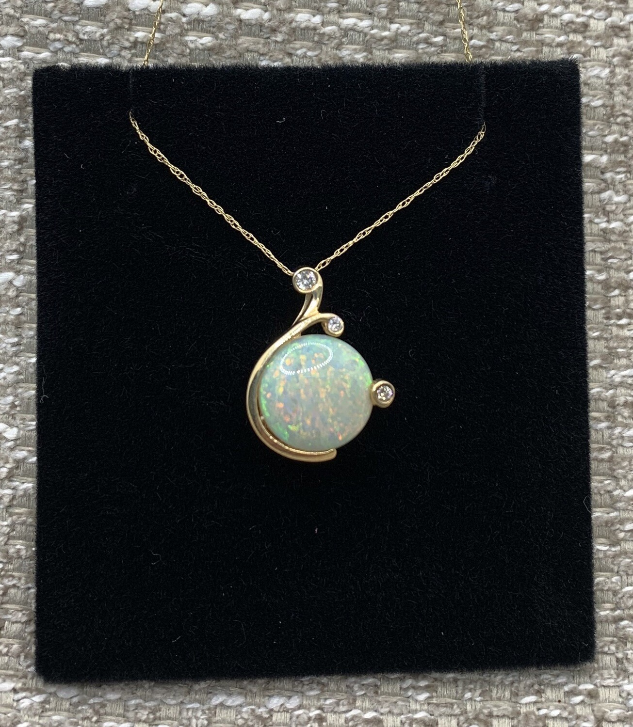 3.3ct Opal With Dual Diamond Accents Pendant