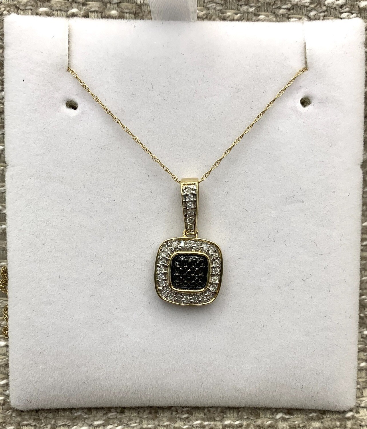 Black Diamond Cluster With Diamond Accents Pendant