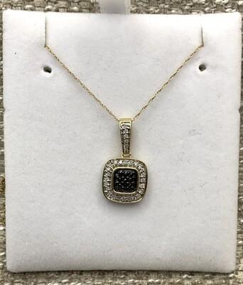 Black Diamond Cluster With Diamond Accents Pendant