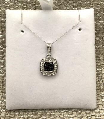 Black Diamond Cluster With Halo Diamond Pendant