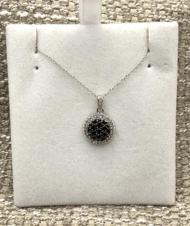 Black Diamond Cluster With Halo Pendant