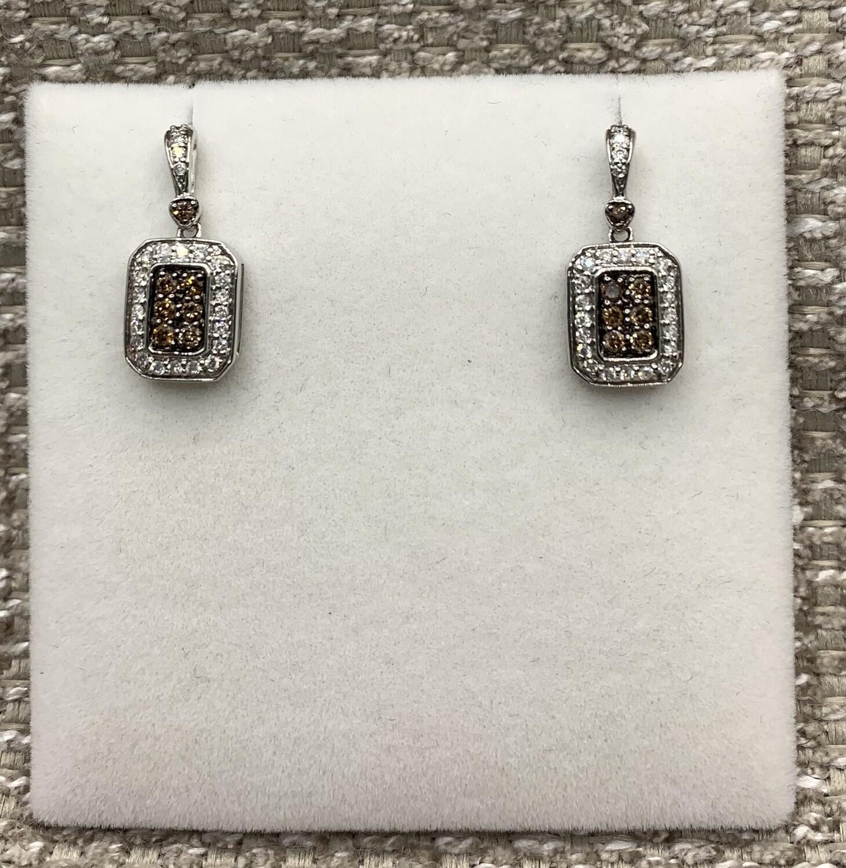Cognac Diamond Earrings With Halo