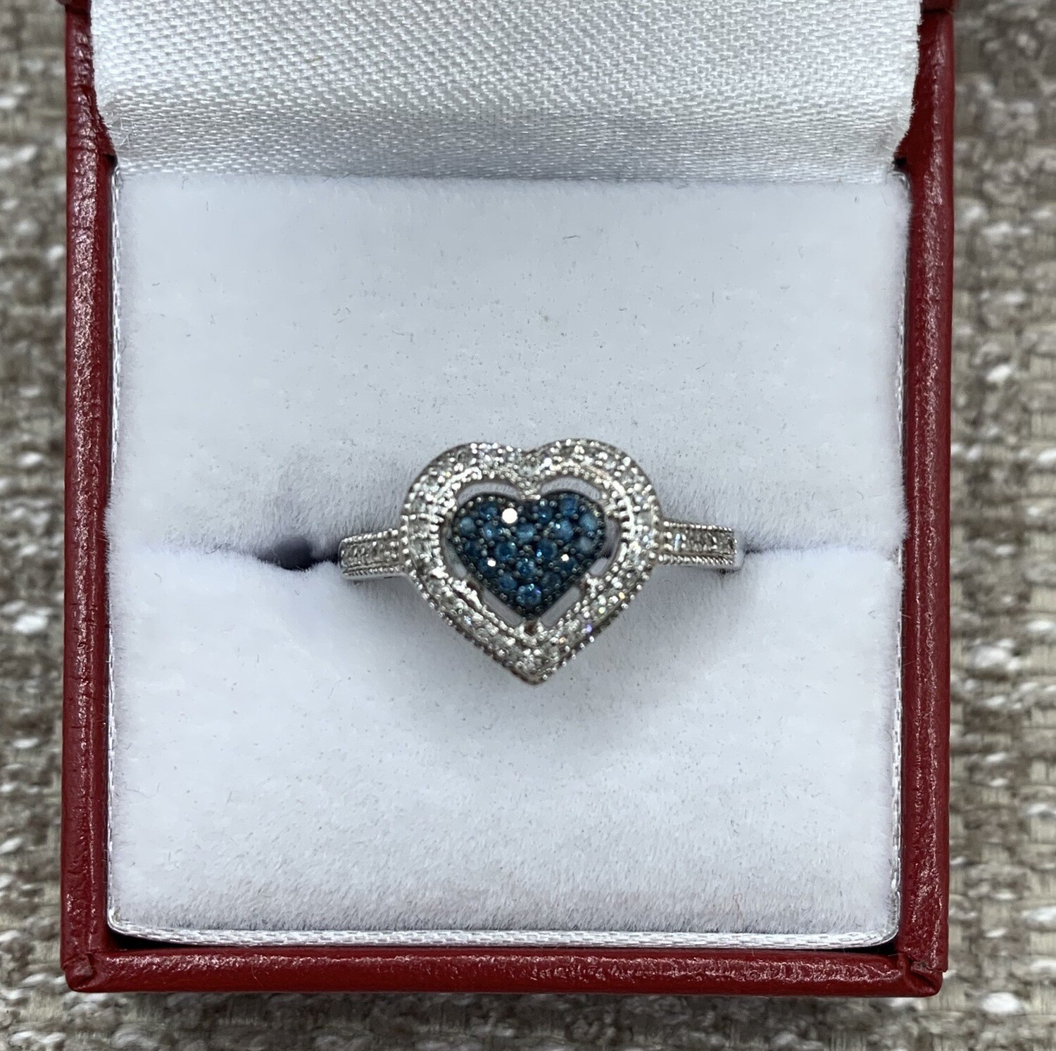 Blue Diamond Heart Shaped Cluster With Diamond Halo Ring