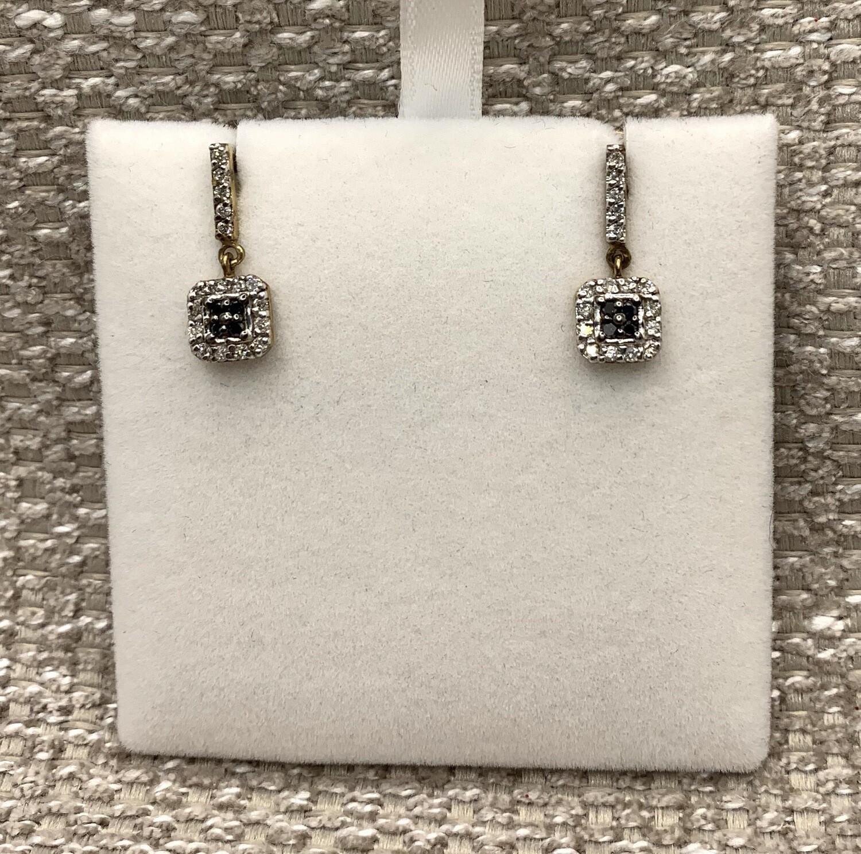Black And White Diamond Hanging Post Earrings