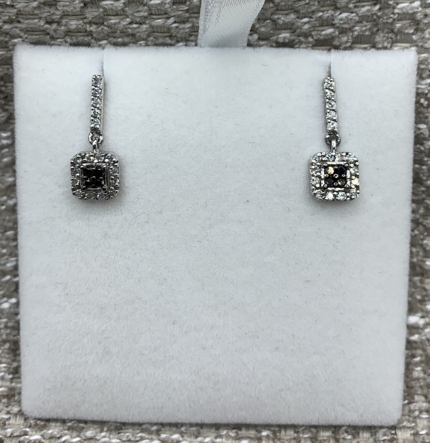 Black And White Diamond Hanging Post Earrings