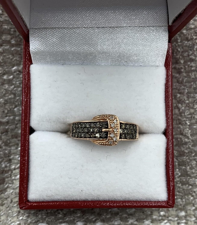 Cognac Diamonds Buckle Ring With Diamond Accents