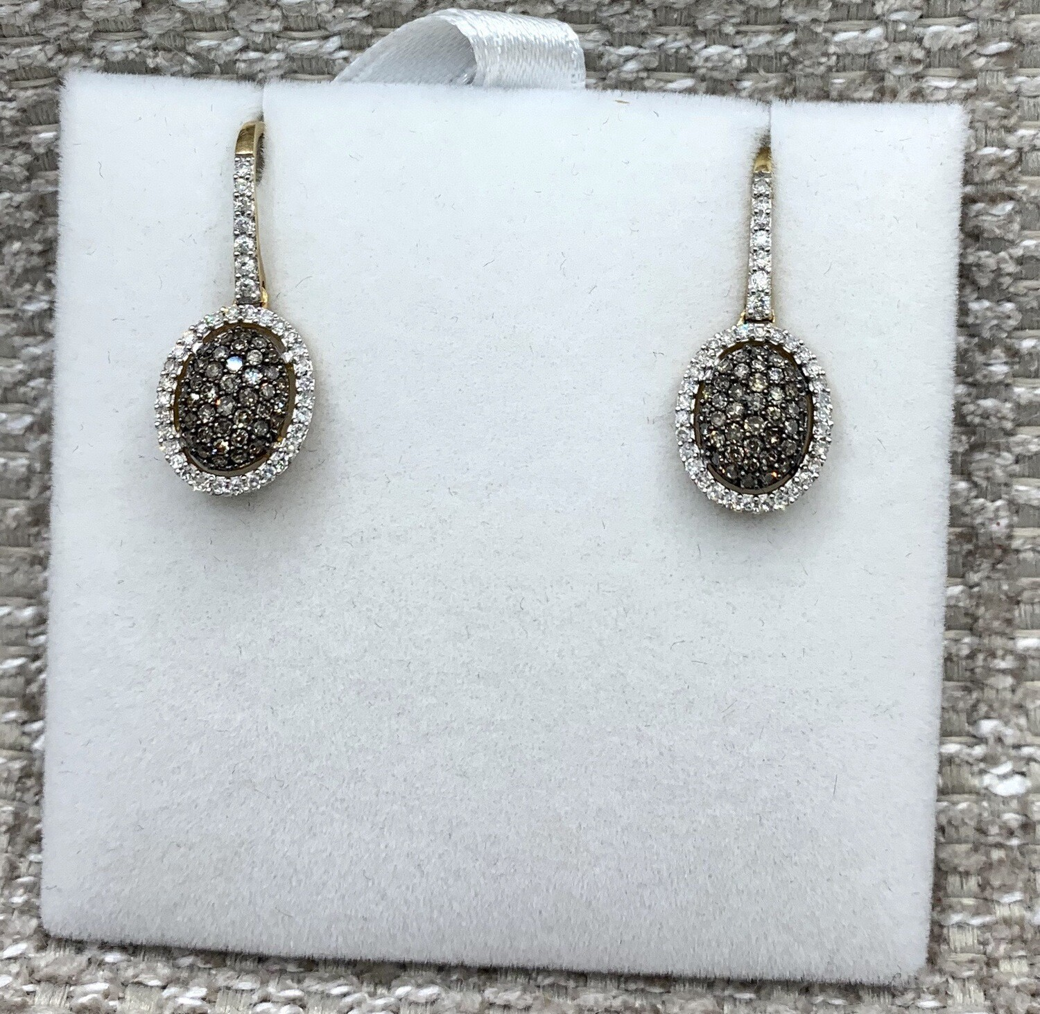 Cognac And White Hanging Diamond Cluster With Halo