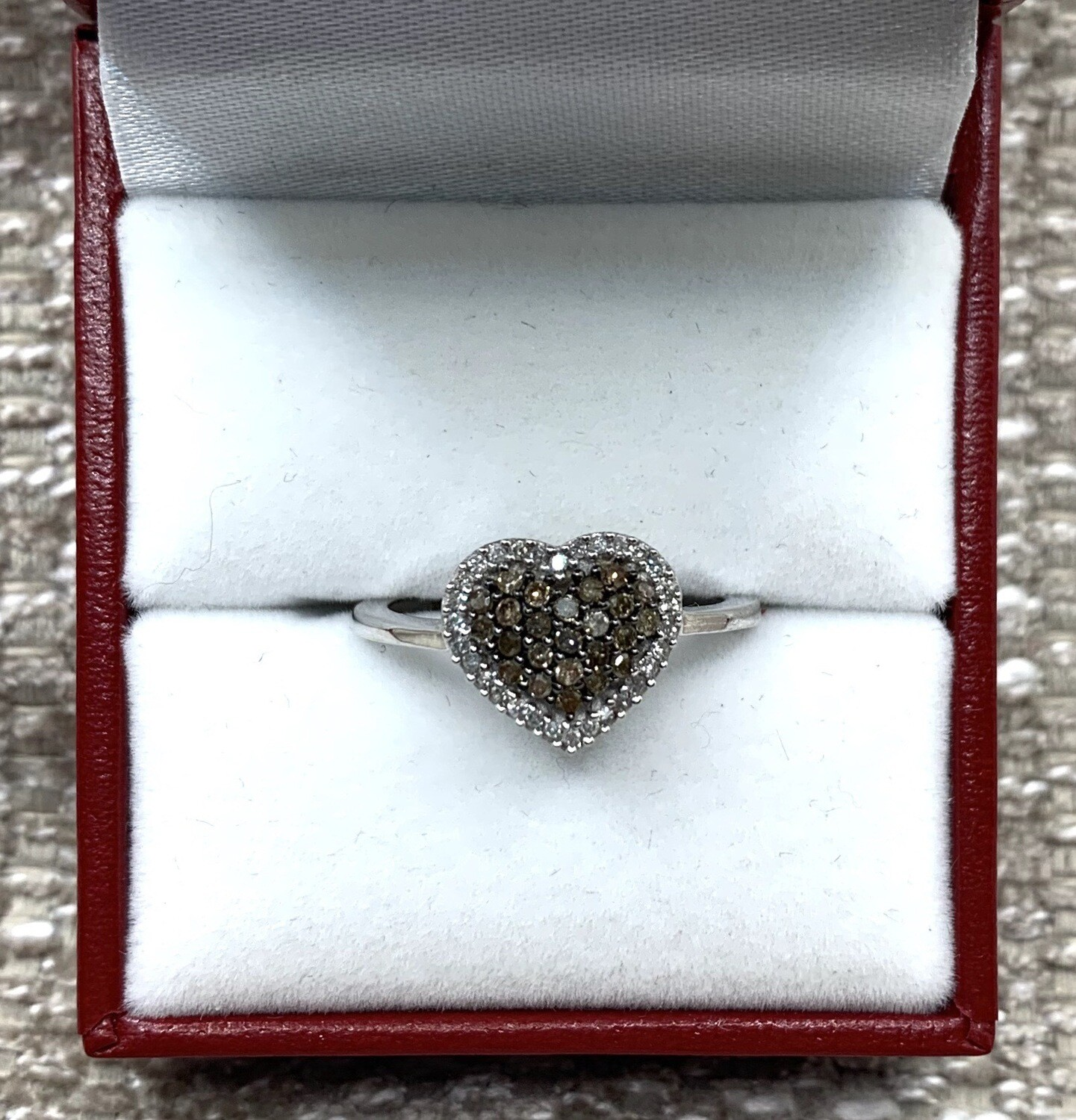 Cognac Diamonds Heart Shaped Cluster With Diamond Halo Ring