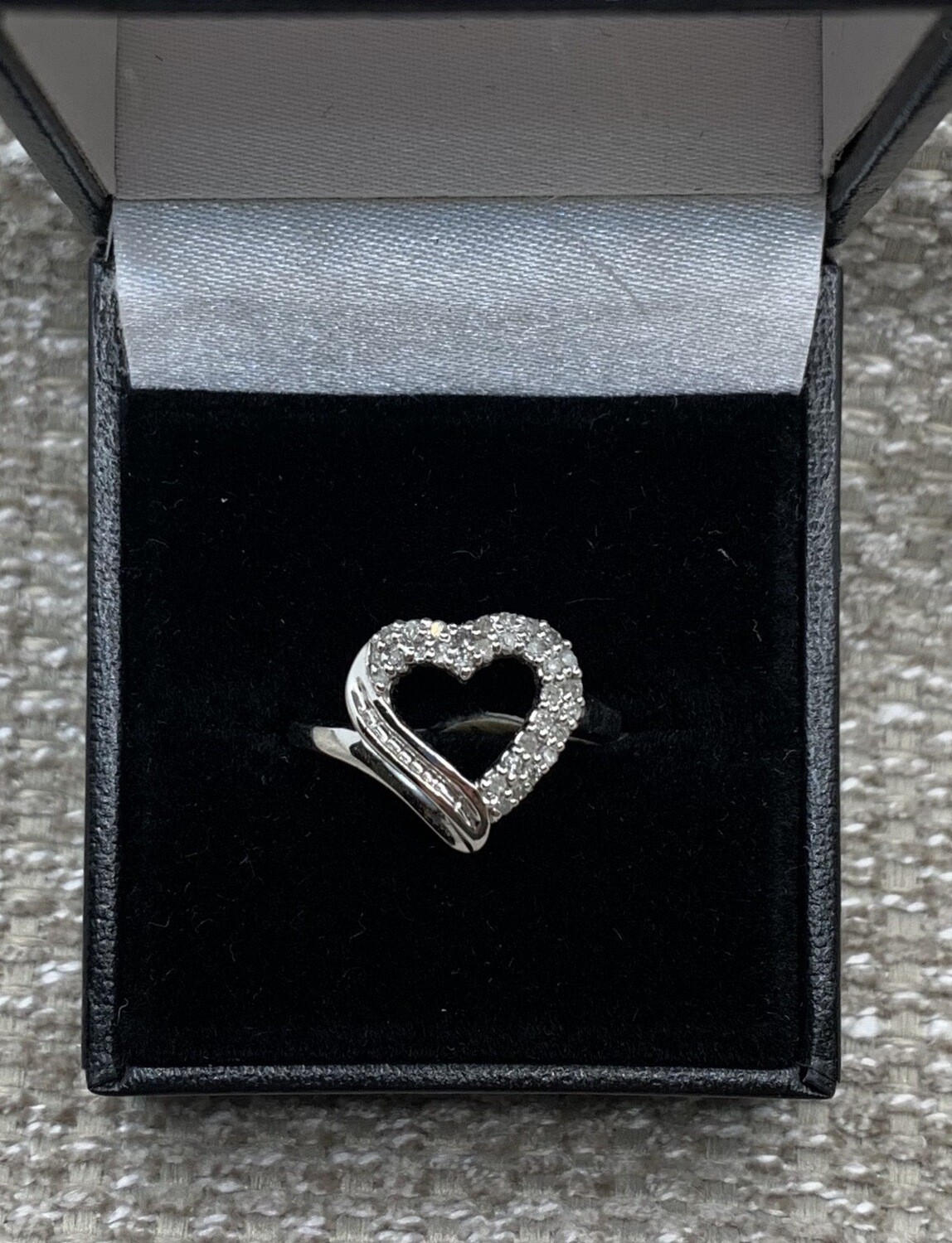 20 pt. Total Weight Diamond Heart Shaped Ring set in White Gold