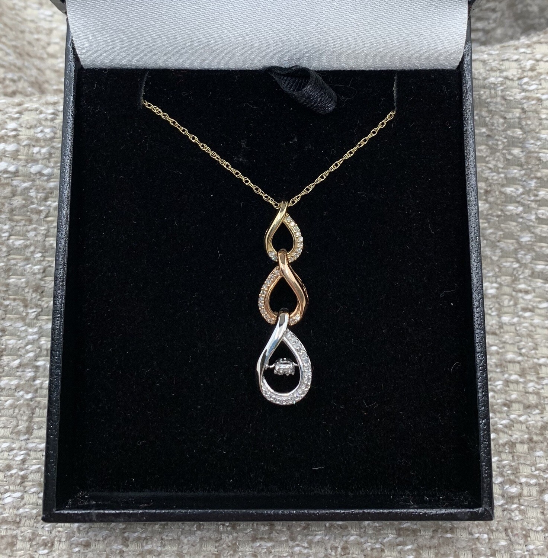 Tricolor Golds Diamond Accent Pendant