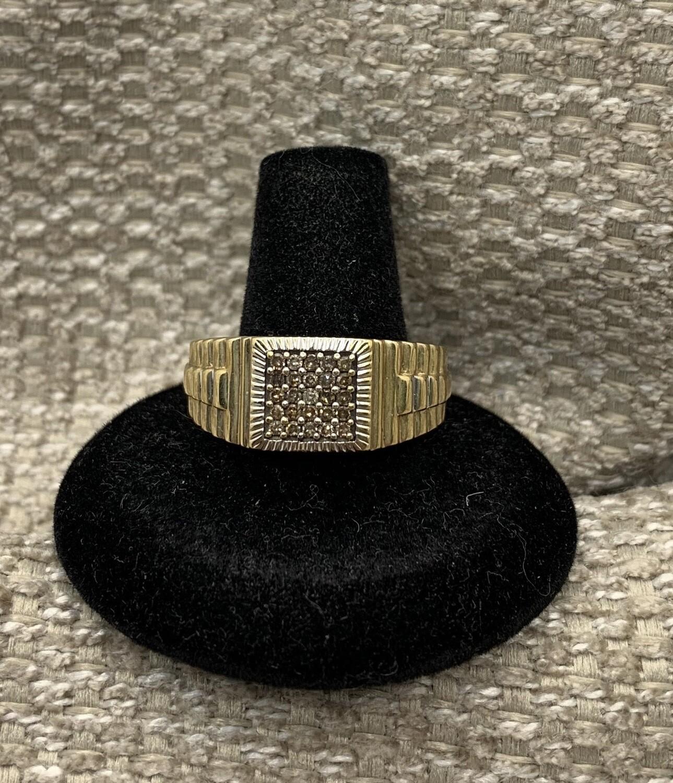 Men's Cognac Diamond Cluster Ring