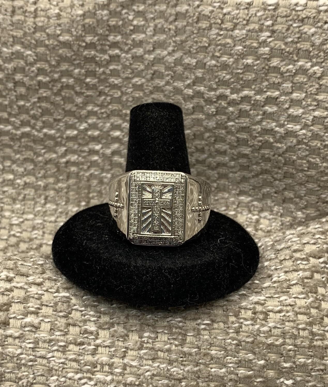 Men's Diamond White Gold Cross Ring
