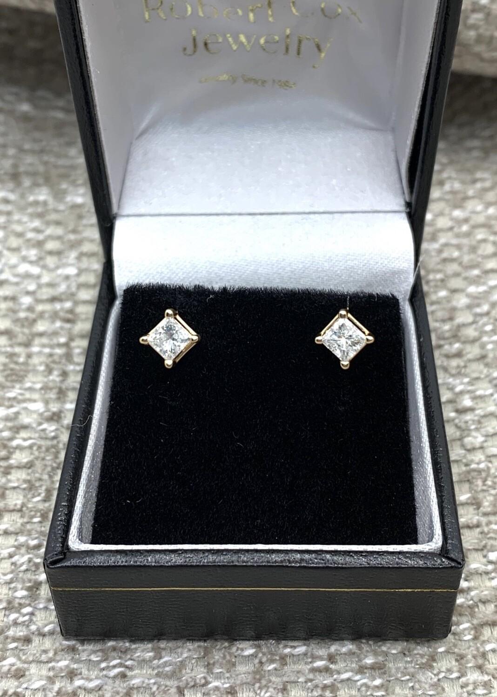 3/4 Ct Princess Cut Earrings