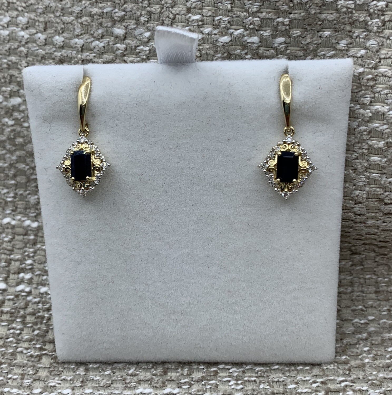 Hanging Emerald Cut Sapphire Earrings