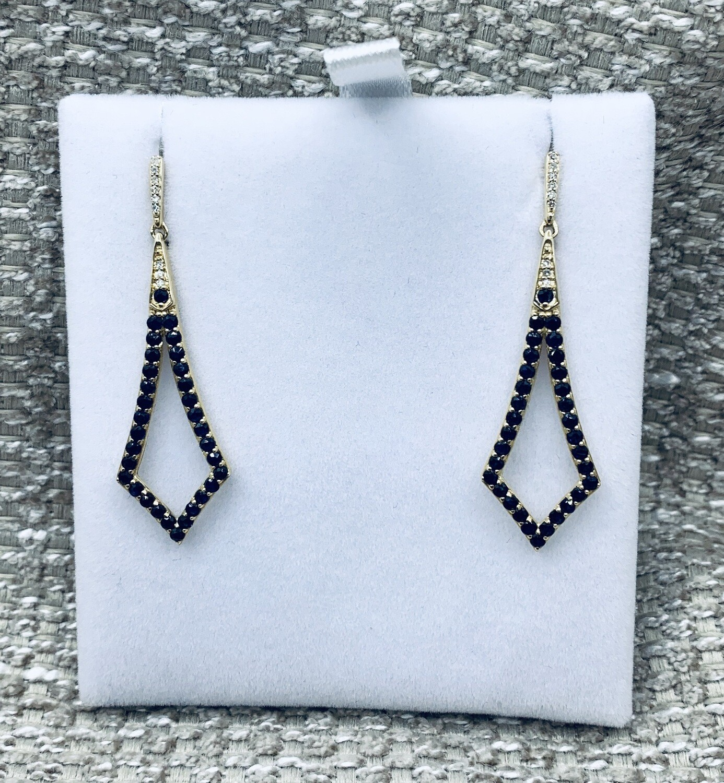 Geometric Hanging Sapphire Earrings 10K Yellow Gold