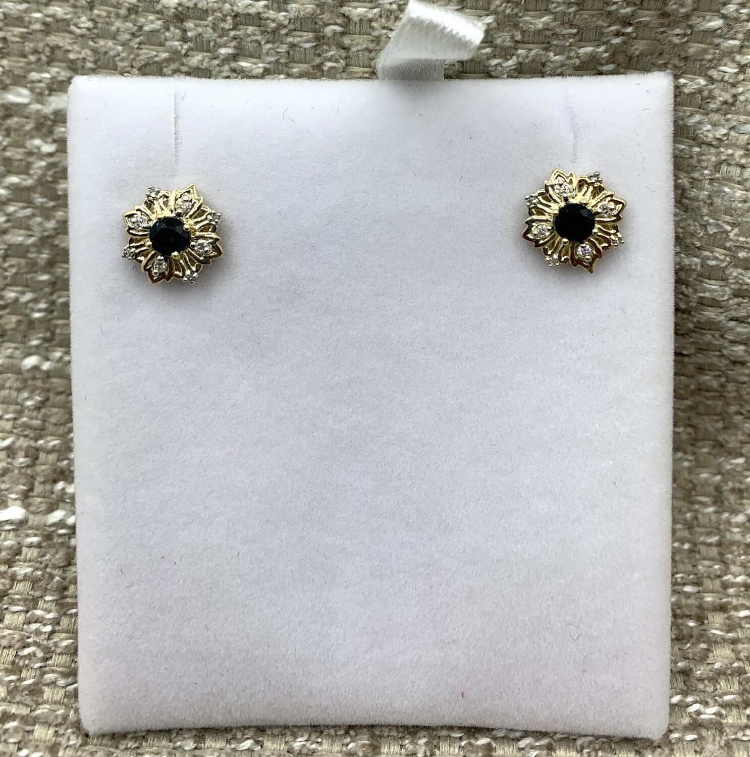 Sapphire And Diamond Post Earrings