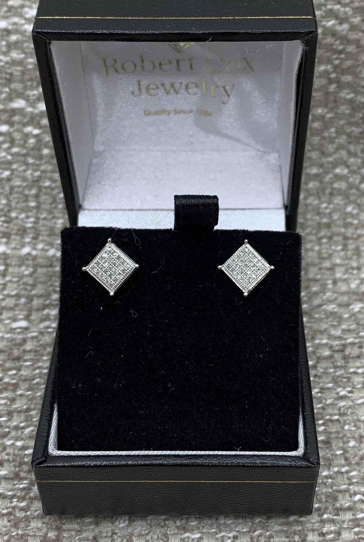 Shimmering Diamond Post Earrings